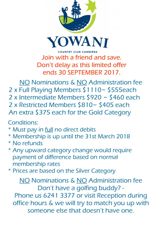 Membership special for pro shop